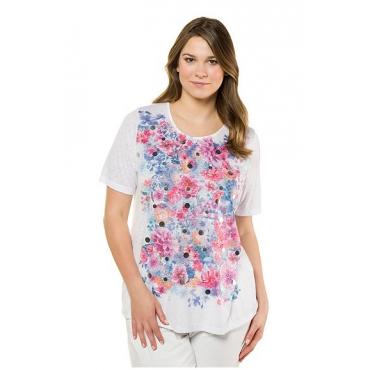 Ulla Popken Damen  T-Shirt, Blütenmuster, Classic, Ausbrennerjersey, mehrfarbig, Gr. 58/60, Mode in großen Größen
