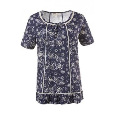 Große Größen Ulla Popken Damen  T-Shirt, Blütenmuster, Litzenbänder, Biobaumwolle, Blau, Gr. 42/44,46/48,50/52,54/56,58/60