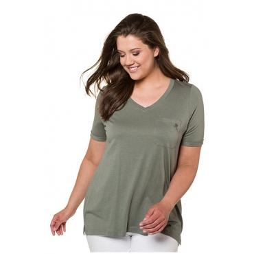 Ulla Popken Damen  T-Shirt, Blütenstickerei, A-Linie, V-Ausschnitt, mattes oliv, Gr. 54/56, Mode in großen Größen