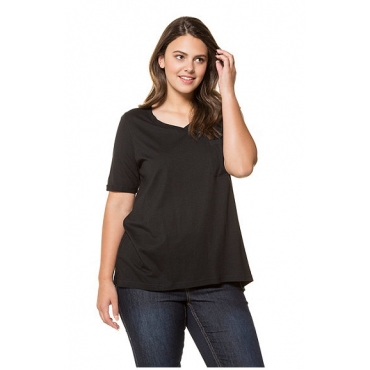 Ulla Popken Damen  T-Shirt, Blütenstickerei, A-Linie, V-Ausschnitt, schwarz, Gr. 58/60, Mode in großen Größen