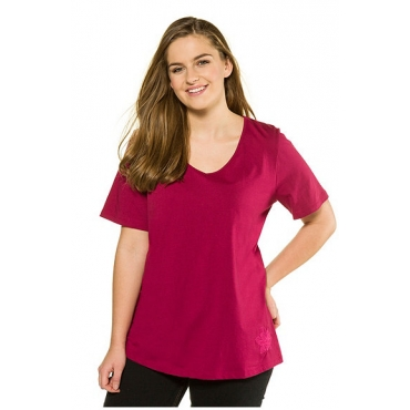 Ulla Popken Damen  T-Shirt, Blütenstickerei, Classic, Biobaumwolle, himbeere, Gr. 58/60, Mode in großen Größen