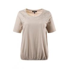 Große Größen Ulla Popken Damen  T-Shirt, Blütenstickerei, elastischer Saum, reine Baumwolle, Weiß, Gr. 42/44,46/48,50/52,54/56,58/60