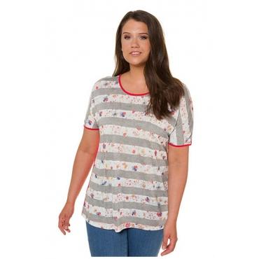Ulla Popken Damen  T-Shirt, Blütenstreifen, Oversized, Rücken einfarbig, rot, Gr. 58/60, Mode in großen Größen