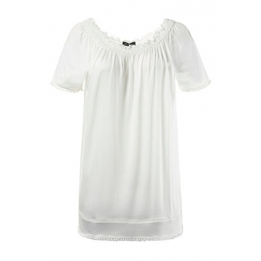 Ulla Popken Damen  T-Shirt, Bommelsaum, Classic, Carmen-Ausschnitt, offwhite, Gr. 50/52, Mode in großen Größen