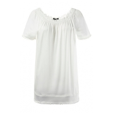 Große Größen Ulla Popken Damen  T-Shirt, Bommelsaum, Classic, Carmen-Ausschnitt, Weiß, Gr. 42/44,46/48,50/52,54/56,58/60,62/64