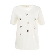 Große Größen Ulla Popken Damen  T-Shirt, Buchstabenmuster, Regular, Biobaumwolle, Weiß, Gr. 42/44,46/48,50/52,54/56,58/60