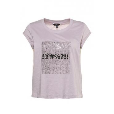 Ulla Popken Damen  T-Shirt, Computer-Look, Used-Optik, Ärmel mit Umschlag, perllila, Gr. 54/56, Mode in großen Größen
