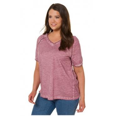Ulla Popken Damen  T-Shirt, Cool dyed, A-Linie, Litzenbänder, V-Ausschnitt, malve, Gr. 58/60, Mode in großen Größen