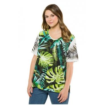 Ulla Popken Damen  T-Shirt, Dschungelmuster, Classic, Elasthan, mehrfarbig, Gr. 58/60, Mode in großen Größen