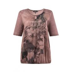 Große Größen Ulla Popken Damen  T-Shirt, elastischer Saum, Blumenmotiv, cold dyed, Lila, Gr. 42/44,46/48,50/52,54/56,58/60