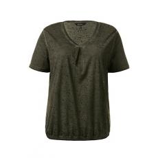 Große Größen Ulla Popken Damen  T-Shirt, elastischer Saum, Zierfalte, Ausbrenner-Jersey, Grün, Gr. 42/44,46/48,50/52,54/56,58/60,62/64