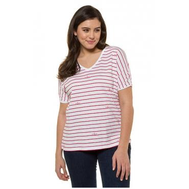 Ulla Popken Damen  T-Shirt, Faltboot-Motive, Oversized, Streifen, Flammjersey, hell-tomatenrot, Gr. 58/60, Mode in großen Größen