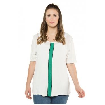 Ulla Popken Damen  T-Shirt, Farbstreifen, Regular, Materialmix, weiß, Gr. 58/60, Mode in großen Größen