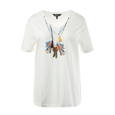 Große Größen Ulla Popken Damen  T-Shirt, Federmotiv, Classic, Quasten, Flammjersey, Weiß, Gr. 42/44,46/48,50/52,54/56,58/60,62/64
