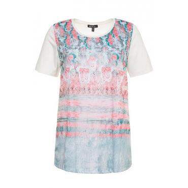 Große Größen Ulla Popken Damen  T-Shirt, floraler Druck, Classic, Rundhalsausschnitt, Mehrfarbig, Gr. 42/44,46/48,50/52,54/56,58/60,62/64