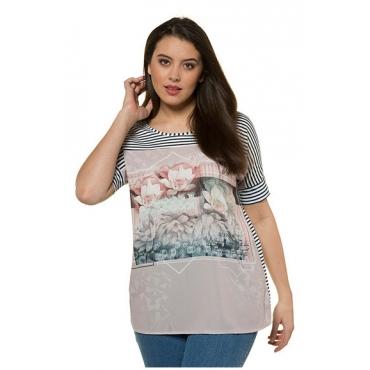 Ulla Popken Damen  T-Shirt, Fotomotiv, Oversized, Streifen, nachtblau, Gr. 58/60, Mode in großen Größen