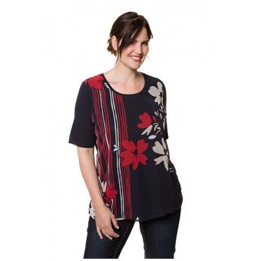 Ulla Popken Damen  T-Shirt, geblümte Chiffon-Oberlage, Classic, Jersey, marine, Gr. 58/60, Mode in großen Größen