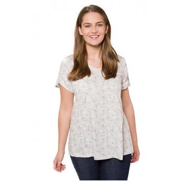 Ulla Popken Damen  T-Shirt, Ginkomuster, A-Line, Biobaumwolle, creme-rosé, Gr. 58/60, Mode in großen Größen
