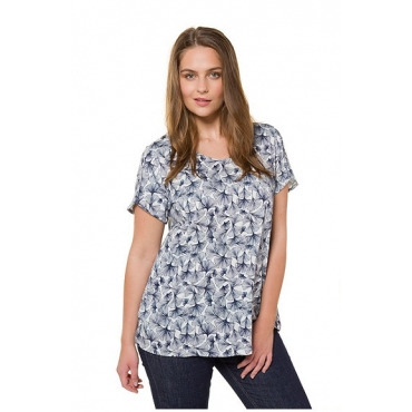 Ulla Popken Damen  T-Shirt, Ginkomuster, A-Line, Biobaumwolle, offwhite, Gr. 58/60, Mode in großen Größen