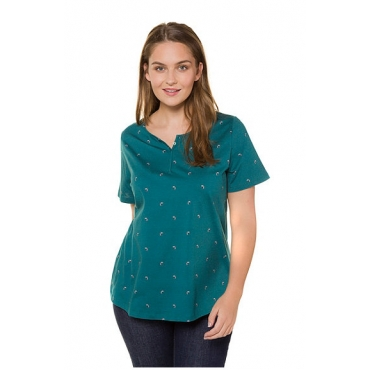 Ulla Popken Damen  T-Shirt, Ginkomuster, Classic, Biobaumwolle, türkisgrün, Gr. 58/60, Mode in großen Größen