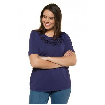 Ulla Popken Damen  T-Shirt, Glitzer-Stickerei, Classic, Pailletten, blaubeere, Gr. 58/60, Mode in großen Größen