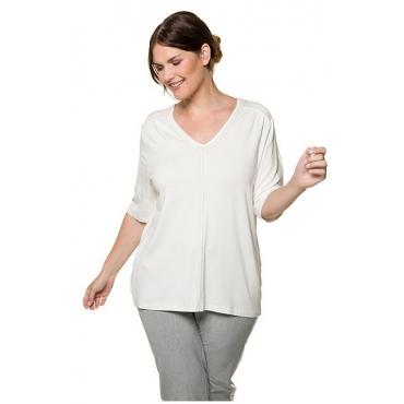 Ulla Popken Damen  T-Shirt, Glitzerband, Regular, V-Ausschnitt, offwhite, Gr. 58/60, Mode in großen Größen