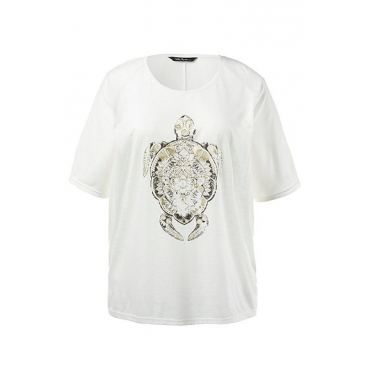 Große Größen Ulla Popken Damen  T-Shirt, goldenes Schildkröten-Motiv, Oversized, Ausbrenner-Jersey, Weiß, Gr. 42/44,46/48,50/52,54/56,58/60,62/64