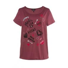 Große Größen Ulla Popken Damen  T-Shirt, Graffiti-Motive, weiter Rundhalsausschnitt, Elasthan, rosenholzrot, Gr. 42/44,46/48,50/52,54/56,58/60,62/64