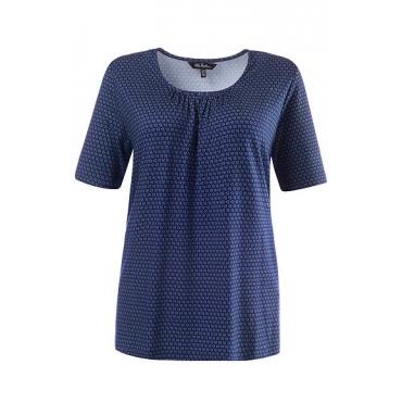 Ulla Popken Damen  T-Shirt, halbarm, A-Line, Muster, tiefseeblau, Gr. 58/60, Mode in großen Größen
