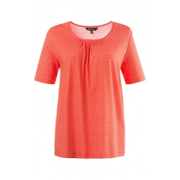 Ulla Popken Damen  T-Shirt, halbarm, A-Line, Muster, feuerrot, Gr. 54/56, Mode in großen Größen