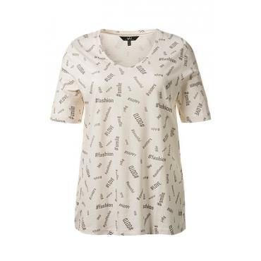 Ulla Popken Damen  T-Shirt, Hashtag-Muster, V-Ausschnitt, reine Baumwolle, elfenbein, Gr. 42/44, Mode in großen Größen