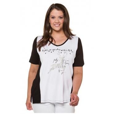 Ulla Popken Damen  T-Shirt, Hirschmotiv, Classic, Glitzersteinchen, weiß, Gr. 58/60, Mode in großen Größen