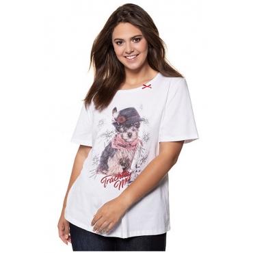 Ulla Popken Damen  T-Shirt, Hundemotiv, Regular, Zierschleife, mehrfarbig, Gr. 58/60, Mode in großen Größen