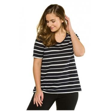 Ulla Popken Damen  T-Shirt, Jacquard-Ringel, Classic, Biobaumwolle, marine, Gr. 58/60, Mode in großen Größen