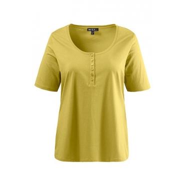 Ulla Popken Damen  T-Shirt, Knopfleiste, Regular, Rundhals, Öko-Tex 100, senfgelb, Gr. 54/56, Mode in großen Größen