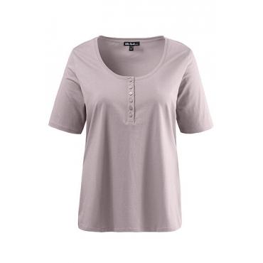 Ulla Popken Damen  T-Shirt, Knopfleiste, Regular, Rundhals, Öko-Tex 100, perllila, Gr. 46/48, Mode in großen Größen