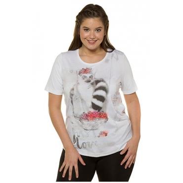 Ulla Popken Damen  T-Shirt, Lemuren-Motiv, Classic, Glitzerschrift, weiß, Gr. 58/60, Mode in großen Größen