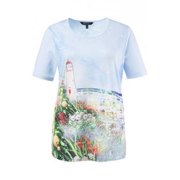 Ulla Popken Damen  T-Shirt, Leuchtturm-Motiv, Classic, Strass, mehrfarbig, Gr. 58/60, Mode in großen Größen