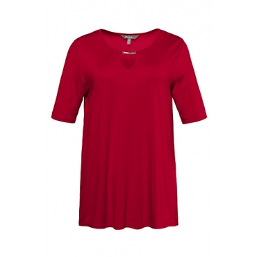 Ulla Popken Damen  T-Shirt, Metallic-Ausschnittdekor, Cllassic, Stretch, tiefes rot, Gr. 58/60, Mode in großen Größen