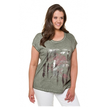 Ulla Popken Damen  T-Shirt, Metallic-Druck, Oversized, Ziernieten, Flammjersey, mattes oliv, Gr. 58/60, Mode in großen Größen