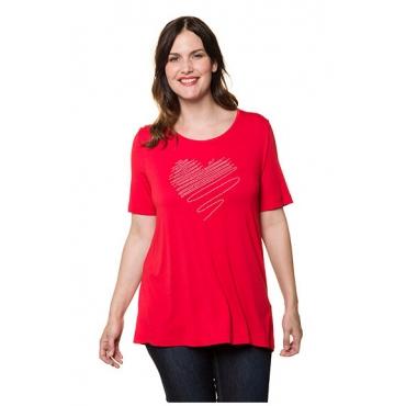 Ulla Popken Damen  T-Shirt, Metallic-Herzapplikation, Classic, Rundhals, rot, Gr. 58/60, Mode in großen Größen