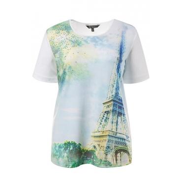 Große Größen Ulla Popken Damen  T-Shirt, Motiv Eiffelturm, Classic, Ziersteine, Stretchkomfort, Weiß, Gr. 42/44,46/48,50/52,54/56,58/60