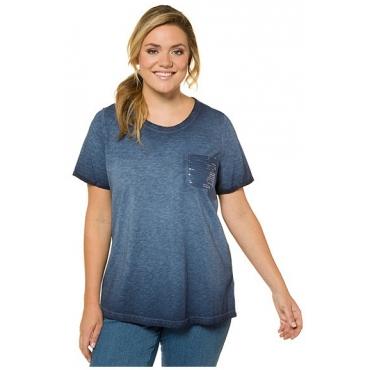 Ulla Popken Damen  T-Shirt, reine Baumwollle, tiefseeblau, Gr. 42/44, Mode in großen Größen