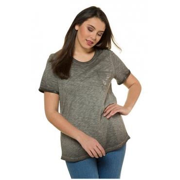 Ulla Popken Damen  T-Shirt, reine Baumwollle, schwarzgrau, Gr. 58/60, Mode in großen Größen