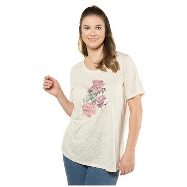 Ulla Popken Damen  T-Shirt, Pailletten-Blüten, Classic, Rundhalsausschnitt, helles creme, Gr. 58/60, Mode in großen Größen
