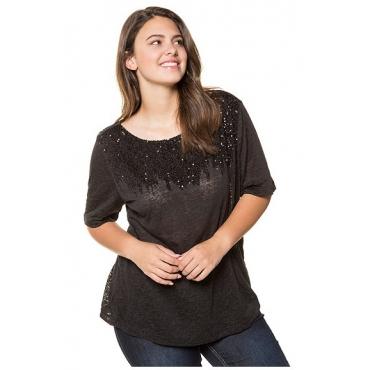 Ulla Popken Damen  T-Shirt, Pailletten, Regular, Ausbrenner-Jersey, schwarz, Gr. 58/60, Mode in großen Größen