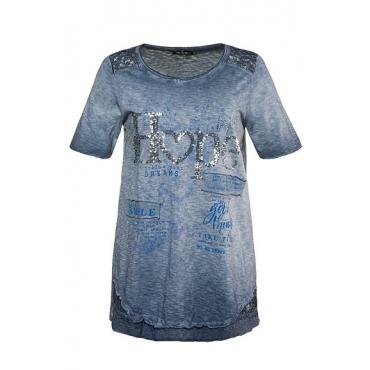 Ulla Popken Damen  T-Shirt, Paillettenmotiv HOPE, A-Linie, oil dyed, marine, Gr. 58/60, Mode in großen Größen