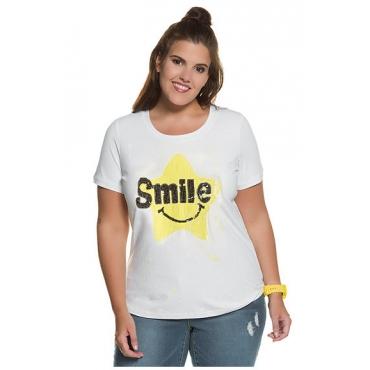 """Studio Untold Damen  T-Shirt, Paillettenmotiv """"Smile"""", Stretchkomfort, weiß, Gr. 54/56, Mode in großen Größen"""