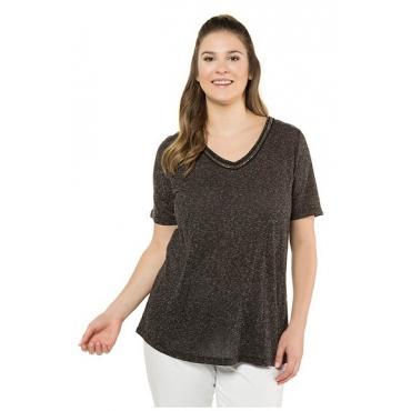 Ulla Popken Damen  T-Shirt, Perlenband, Regular, melierter Jersey, schwarz-melange, Gr. 58/60, Mode in großen Größen