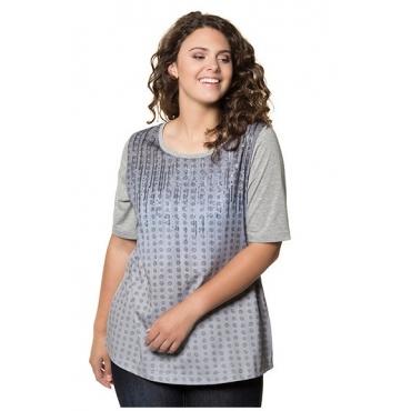 Ulla Popken Damen  T-Shirt, Punktmuster, Classic, Pailletten, hellgrau-melange, Gr. 54/56, Mode in großen Größen